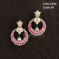 Fusion Arts Meenakari Chandbali Earrings