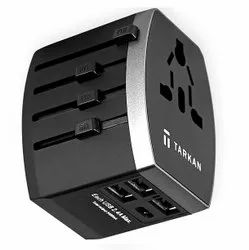 3 Pins Black Universal Travel Adapter