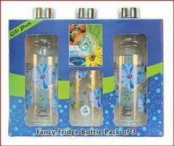 1 Liter PET Fancy Bottle Blue Set Steel Cap