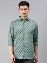 Printed Collar Neck Millennial Men Green Cotton Full Sleeves Shirts For Men, Size: 38-50