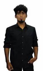Plain Slim Fit Mens Collar Neck Twill Cotton Shirt