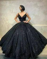Festive Wear Women Black Ball Gown