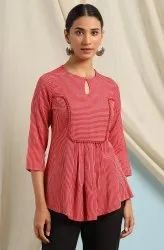Janasya Women's Red Rayon Top(J0115)