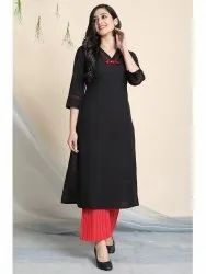 Janasya Women's Black Cotton Flex Kurta With Palazzo(J0145)