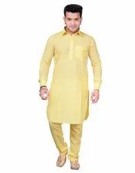 Casual Wear Plain Men Cotton Pathani Suit, Handwash, Size: 36*42
