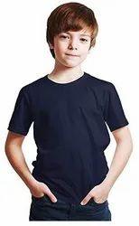 Casual Wear Round Kids Plain Cotton T Shirt