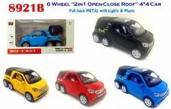Multicolor Abs Plastic 6 Wheel 2in1 Open Close Roof Cars Metal With Lighs And Music Toy
