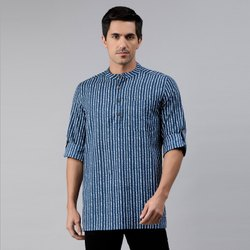 Casual Printed Janasya Men's Blue Cotton Kurta(MEN5004), Mandarin Collar