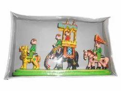 Antique Wooden Rajasthani Royal Maharaja Procession Wood Handicraft Item, For Decoration