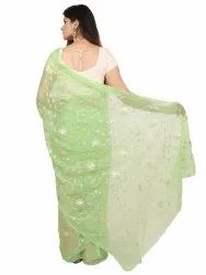 Saarvi Printed Sea Green Party Wear Designer Saree, With blouse piece, 5.5 m (separate blouse piece)