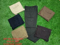 Green Casual Wear Mens Plain Cotton Cargo Pants, Size: X-Large,2X-Large