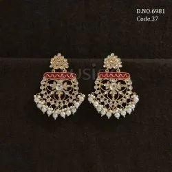 Fusion Arts Meenakari Kundan Chandbali Earrings