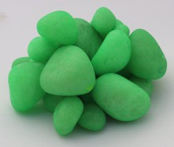 Aquarium Tumbled Polished Florocent Coloured Green River Pebble