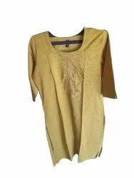 Casual Wear 3/4th Sleeve Ladies Mustard Fancy Cotton Kurti, Size: Medium, Wash Care: Handwash
