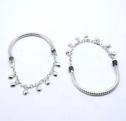 Brass Traditional Artificial Silver Anklets