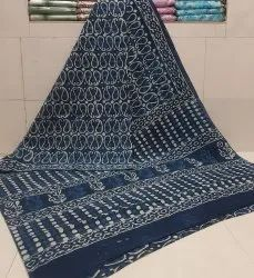 Exclusive Natural Bagru Dabu Hand Block Printed Cotton Saree With Blouse Piece.