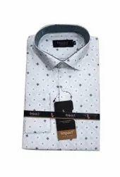 Cotton Collar Neck Mens White Printed Formal Shirt, Handwash