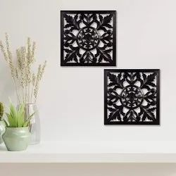 Timberly Wooden MDF Hanging Wall Panel Black (Pack of 2)