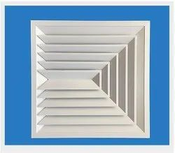 Powder Coated 3 Way Throw Square Ceiling Diffuser, For Commercial