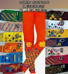 Cotton Straight Fit Women Kutch Work Leggings, Size: Xl, Xxl