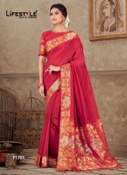 Fancy Chanderi Silk Cotton Rich Pallu Red Saree-6 Pcs