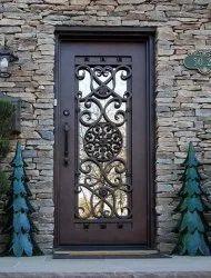 Brown Paint Coated Designer Iron Door, Single, Thickness: 6mm