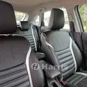 Black And White Front & Back Car Leather Seat Cover