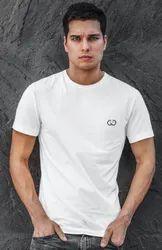 Round Cotton Half Sleeves White T Shirt
