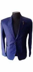 Mens Plain Blue Cotton Coat