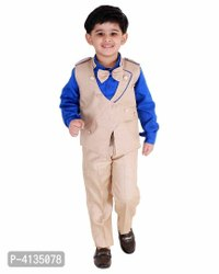 Blue 3 Piece Suit Set With Bow Boys