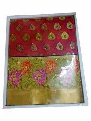 Printed Ladies Party Wear Chanderi Saree, 6.3 M, With Blouse Piece