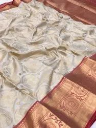 Multicolor Wedding Wear Traditional Kanchipuarm Semi Silk Saree, 6.3 m (With Blouse Piece)