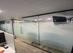 orb Glass,Aluminum Slim glaze glass partition (Frame-less door with hardware's), For Office, Thickness: 35x20mm Section