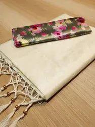 Festive Wear Plain Chanderi Silk Saree, 6.3m (With Blouse Piece)