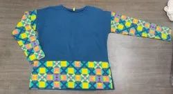 Round Multicolor Girls Full Sleeve T Shirt, Size: Large