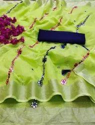 Casual Wear 5.80 Linen Cotton Golden Border Saree