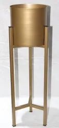Round Gold Metal Planter With Stand For Decoration