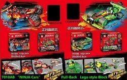 Taaj Multicolor Ninja Cars Pull Back Lego Style Block Toy