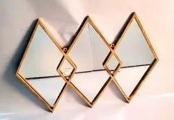 金铁和玻璃3在一个墙面装饰镜子,尺寸:40x30