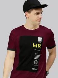 Hosiery Printed Half Sleeves T-Shirt, Size: M To XXL