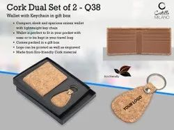 Q38 Cork Dual Set Wallet With Keychain In Gift Box