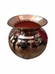 Reddish Brown Plain Round Copper Lota, For Home, Capacity: 1 Litre
