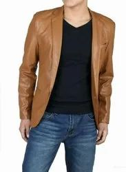 Full Sleeve Casual Jackets Handmade Men's Brown Front Button Biker Jacket With High Stand Collar