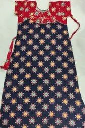 Printed Ladies Red & Blue Cotton Nighty