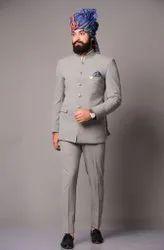 Party Plain Light Grey Bandhgala Jodhpuri Suit, Size: Large