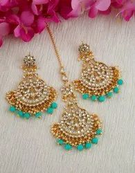 Turquoise Colour Gold Finish Styles With Beads Fancy Earring With Mang Tikka