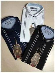 Stripped Black,White & Blue Men Formal Cotton Shirt, Machine & Handwash, Size: M-38 L-40 Xl-42