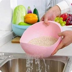 Pink Plastic Rice And Vegetables Drainer Bowl, For Home