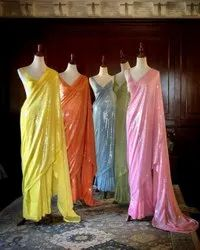 Party Wear AC Saree Launched, 5.5 m (Separate Blouse Piece)