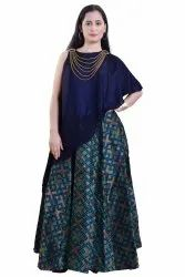 Designer Asymmetric Gown With Attached Necklace